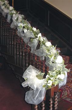 Are you thinking about having your wedding by the beach? Are you wondering the best beach wedding flowers to celebrate your union? Here are some of the best ideas for beach wedding flowers you should consider. Wedding Staircase Decoration, Wedding Stairs, Church Wedding Decorations, Wedding Centerpieces, Church Wedding Flowers, Wedding Pews, Flower Bouquet Wedding, Pew Decorations, Arch Decoration