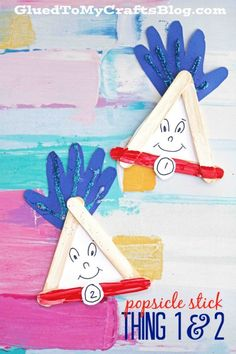 Popsicle Stick Thing 1 & 2 Kid Craft - Perfect for a Dr Seuss themed event!