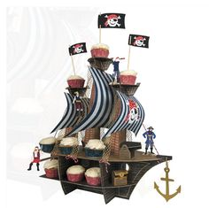 Pirate Ship Cupcake Stand - Ahoy there! Pirate party cupcake stand and table centerpiece by Meri Meri This delightful pirate party table centrepiece is the Pirate Centerpiece, Cupcake Centerpieces, Deco Pirate, Pirate Theme, Pirate Flags, Pirate Decor, Pirate Crafts, Pirate Birthday, Birthday Boys
