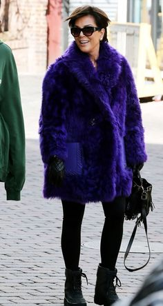 While her kids rock hoodies and parkas, Kris Jenner kept warm in a purple fur during her Vail, Colorado, ski trip — see the coat
