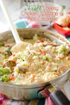 Light Cheesy Chicken, Sausage & Rice Casserole - A creamy chicken and rice hotdish filled with vegetables and sharp white cheddar for a healthy and filling one-pot dinner! #Light #Healthy #chicken #Sausage #Rice #Cheesy