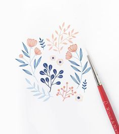 How To: Lemon Theme + 5 Fun Tropical Themes For The Summer! – Archer and Olive Art Floral, Motif Floral, Floral Drawing, Watercolor Cards, Watercolor Flowers, Watercolor Paintings, Watercolor Mermaid, Watercolours, Illustration Blume