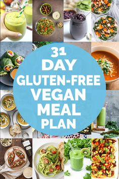 Are you looking for healthy vegan recipes? Here's a whole month of healthy gluten-free plant-based meals! Gluten Free Meal Plan, Gluten Free Vegetarian Recipes, Vegan Recipes Beginner, Vegan Meal Plans, Vegan Gluten Free, Plant Based Diet Meals, Plant Based Meal Planning, Plant Based Eating, Plant Based Recipes