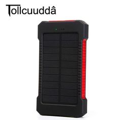 Tollcuudda Waterproof 10000Mah Solar Power Bank Solar Charger Dual USB Power Bank with LED Light for iPhone for Samsung Phones