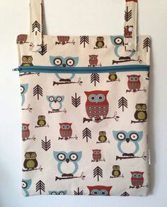 Hanging Wet Bag Hooty Owls in Natural by LilTotWonder on Etsy, $22.00