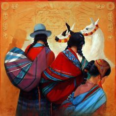 ''MARCHE PERUVIEN'' Georges Corominas Mexican Artists, Spanish Artists, Art Péruvien, Figure Painting, Painting & Drawing, Arte Latina, Mexican Paintings, Peruvian Art, Chinese Drawings