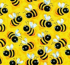 RESERVED  For Sew Rockin....Blank Quilting Fabric Cute Little Bumble Bee Bees on Yellow...Bugging Out Collection 1 1/2 Yard Bee And Stripe