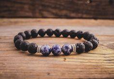 Black lava stone and blue stone beaded stretchy bracelet made to order yoga bracelet