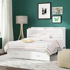 Canora Grey Audet Queen Storage Murphy Bed with Mattress & Reviews | Wayfair Queen Murphy Bed, Murphy Beds, Beige Headboard, Bed Reviews, Adjustable Beds, Guest Bedrooms, Guest Room, Bed Storage, Bed Sizes
