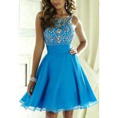 Knee Length V-back Beaded Blue Homecoming Dresses