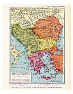 old map of the Balkans, from the 1920's, a printable vintage map from ArtDeco on Etsy, a good source for vintage images.