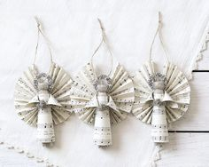 Clothespin Angels - Ornaments Handmade with Vintage Sheet Music - Set of 3