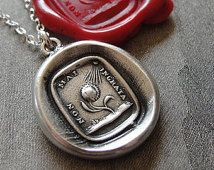wax seal necklace Never Ungrateful - sunflower and sun antique wax seal jewelry in fine silver