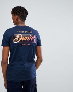 ASOS DESIGN t-shirt in navy with denver back print