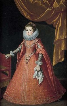Elisabeth of France (1602-1644) Queen consort of Spain & Portugal as wife of King Philip IV of Spain / eldest daughter of King Henry IV of France & Marie de' Medici. Elisabeth was renowned for her beauty, intelligence & noble personality, which made her very popular with the Spanish people. The new queen of Spain was aware her husband had mistresses & she herself was the subject of rumors about her relations w/ poet Peralta. When a fire broke out, Peralta carried the queen to a place of…