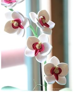 paper quilling - orchid b - Diy How to Crafts 3d Quilling, Paper Quilling Flowers, Paper Quilling Patterns, Quilled Paper Art, Quilling Tutorial, Quilling Paper Craft, Paper Crafts, Quilling Ideas, Origami