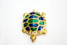 TURTLE CLUB Vintage Classic Enamel And Rhinestone Turtle Pin Cloisonné by SokolProjectsVintage on Etsy