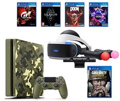 PlayStation 4 Slim Call of Duty WWII Bundle (6 Items): PSVR Launch Bundle, PS4 Slim 1TB Limited Edition Console - Call of Duty WWII Bundle, and 4 Game Discs: Doom, Skyrim, Worlds, Gran Turismo Sports