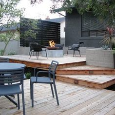 multi-level deck with fire pit