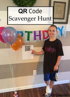 QR Code Birthday Scavenger Hunt DIY.  This was so much fun!