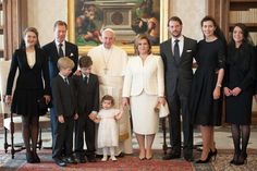 Pope Francis meets (L-R) Countess Stephanie de Lannoy, Grand Duke Henri of Luxembourg, Prince Gabriel, Prince Noah, Princess Amalia, Grand Duchess Maria Teresa, Prince Felix of Luxembourg, Princess Claire , Princess Alexandra of Luxembourg at his private library in the Apostolic Palace on March 21, 2016 in Vatican City, Vatican