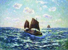 Bateau de pêche en Bretagne, huile sur toile de Henri Moret (1856-1913, France)