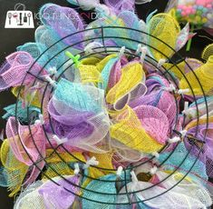 Easy Easter Wreath - using dollar store items Wreath Crafts, Diy Wreath, Wreath Ideas, Wreath Making, Tulle Wreath, Fabric Wreath, Fabric Decor, Diy Crafts, Easter Crafts