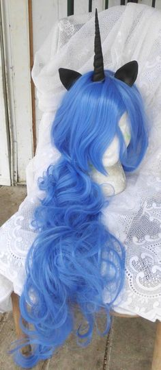 Hey, I found this really awesome Etsy listing at https://www.etsy.com/listing/183504896/unicorn-wig-nightmare-moon-princess-luna