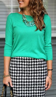 #stelladotstyle Maldives necklace with green top and houndstooth skirt Outfit inspiration: http://www.pinterest.com/jseverydayfash/  Shop the necklace: http://www.stelladot.com/shop/en_us/p/maldives-necklace?s=elainemarshall