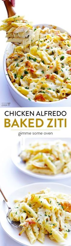Chicken Alfredo Baked Ziti -- simple to make, made with a lighter alfredo sauce, and SO comforting and delicious   http://gimmesomeoven.com