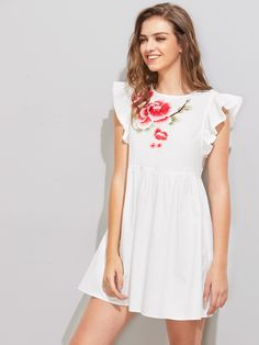Shop Flower Patch Flutter Sleeve Smock Dress online. SheIn offers Flower Patch Flutter Sleeve Smock Dress & more to fit your fashionable needs.