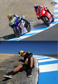 Valentino Rossi  and Casey Stoner at Laguna Seca