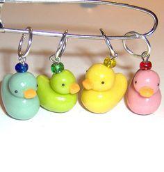 Rubber Duck, Thank You Gifts, Stitch Markers, Knitting Needles, Knit Crochet, Glass Art, Glow, Drop Earrings, Quack Quack