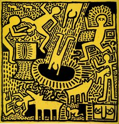 "This Keith Haring Estate rare vintage 1993 collector's Pop Art offset lithograph print "" Yellow People "" is an incredibly special and unique . Arte Pop, Keith Haring Kids, Image Internet, Jm Basquiat, Collaborative Mural, James Rosenquist, Robert Mapplethorpe, Principles Of Art, Art Walk"