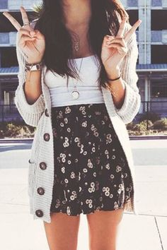 casual Spring style, dark floral skirt, white too and long cardigan