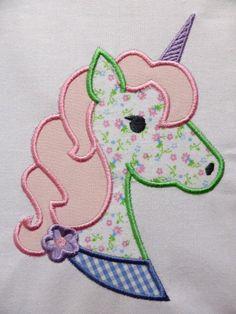 Fancy Unicorn ~ Embroidered Applique Quilt Block/Panel
