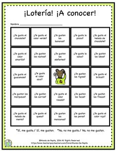 FREE Lotería Bingo Getting to know you, me gusta constructions Game. Mundo de Pepita, Resources for Teaching Spanish to Children