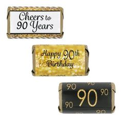 Celebrate this special birthday milestone with these gold and black 90th birthday party favor stickers that will be a sure...