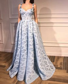 Beautiful blue dress gown  floral flowers haute couture Teuta Matoshi Duriqi