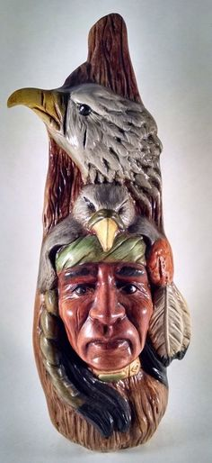 Ceramic Eagle Spirit  North American Man With Headdress  Very Cool Well Painted