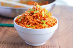 Spicy Peanut Carrot Noodles --uses peanut butter powder Pb2 Recipes, Asian Recipes, Vegetarian Recipes, Cooking Recipes, Healthy Recipes, Carrot Recipes, Carrot Noodles, Veggie Noodles, Peanut Noodles