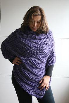 KNITTING PATTERN, boho poncho knitting pattern, oversized wrap knitting pattern…