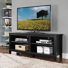 Black Wood 58-inch TV Stand - Overstock™ Shopping - Great Deals on Entertainment Centers