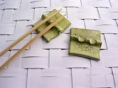 Chopstick holder yellow fern set of 2 by WillowTreePottery on Etsy, $8.00