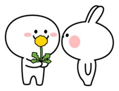 Spoiled Rabbit [Smile Person – LINE stickers Cute Gif, Funny Cute, Funny Stickman, Cute Emoji, Line Sticker, Cute Memes, Aesthetic Movies, Cute Characters, Cute Bunny