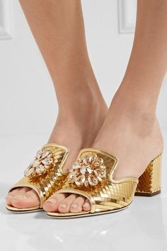 Dolce & Gabbana - Crystal-embellished Metallic Leather Mules - Gold - IT