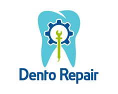 Dento Repair Logo design - This is a unique design of teeth and dental tools in a abstract style, simple and attractive design with corporate colors of blue and green. It can be use full for dentist, doctors, cosmetic surgeons, clinics, tooth brush, tooth paste and more. Price $250.00