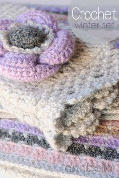 Cowl, warmers and brooch by Anabelia