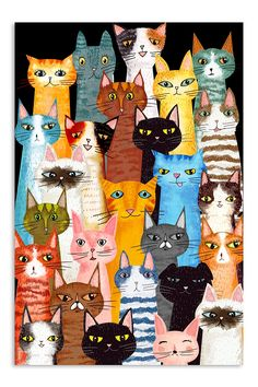 Cats Multi shirts, apparel, posters are available at TeelalandClothingCoGraphicTees&Poster. Cat Quilt, Easy Paintings, Indian Paintings, Abstract Paintings, Cat Drawing, Cat Shirts, Crazy Cats, Cat Art, Cute Cats