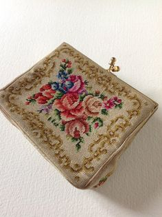 antique Point de Beauvais flower needlepoint roses by PetiteKaty